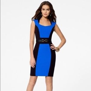 Cache Blue and Black Color-block Sheath Dress